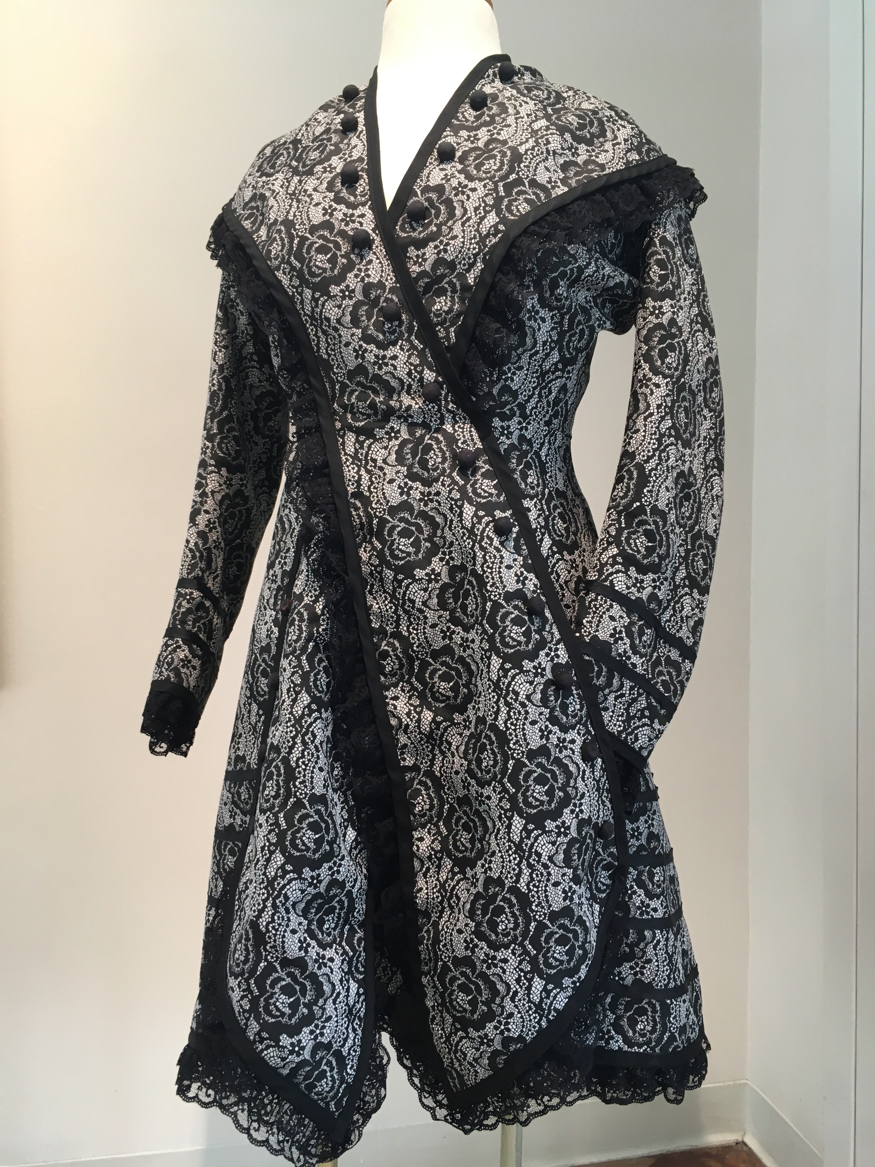 1860's Era Women's Polonaise Paletot, 2018. Handmade from pattern out of an 1868 issue of Harper's Bazar magazine.